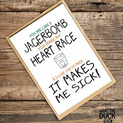 'Jagerbomb' Valentines Day Card, What The Duck Cards, Funny Cards, Rude Cards