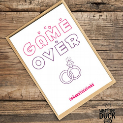 'Game Over' Wedding Card, What The Duck Cards, Funny Cards, Rude Cards