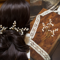 K006 Set of 3 freshwater pearl hair pins, pearl hair accessory like baby breath