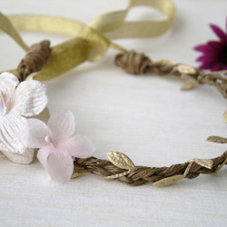 Arielle - Pink and Cream Floral Plaited Vine Crown with Silver Laurel Leaves