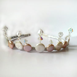 Pink and Cream Bridesmaid Coin Pearl and Crystal Tiara