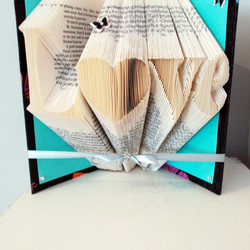 Love folded book art - unique wedding gift - anniversary gift - gift for her