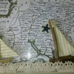 Antique Frame with South Hampshire Map & Driftwood Boats
