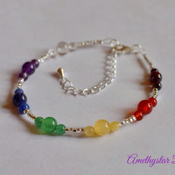 Chakra Bracelet made with Semi-Precious Gemstone Beads