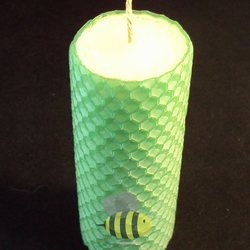 Swanky 2 Colour Hand Rolled Beeswax Pillar Candle, White Inside Green Outside