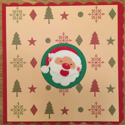 Unique Handmade scalloped edged  Christmas Card Featuring Santa
