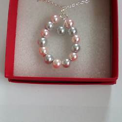 Necklace - Silver Plated Chain with Silver & Pink Blush Beads