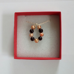 Necklace - Silver Plated Chain with Black & Peach Beads