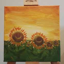 Sunflowers at Sunset acrylic bright yellow unique small painting art