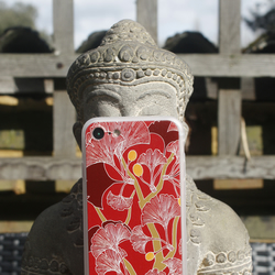 Red Ginkgo Leaves pattern iPhone 7 case