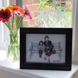 Framed reverse applique 'A Day Out With Granny' picture
