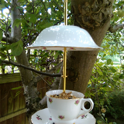 Upcycled vintage teacup and saucer bird feeder