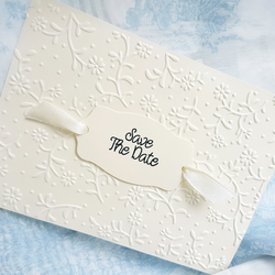 Gorgeous Classical Cream Hand Crafted Save the Date ards. Pack of 10. FREE P&P.