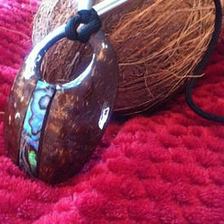 Coconut Shell Pendant Necklace Hand Made