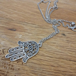 Hamsa pendant and necklace chain boho  Ask a question