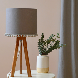 Grey Pom Pom Drum Lampshade - handmade lampshade - home decor