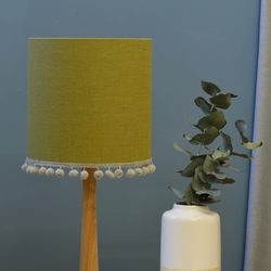 Olive Pom Pom Drum Lampshade - handmade lampshade - home decor