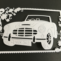 Car in frame die cuts x 4