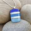 Colourful Blue Stripy Fused Glass Pendant with Silver Dichroic