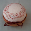 REDUCED, Hand Embroidered Pincushion, Hand sewn pin cushion on wooden base
