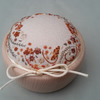 Hand Embroidered Pincushion, hand sewn pin cushion in wooden bowl, sewing gift