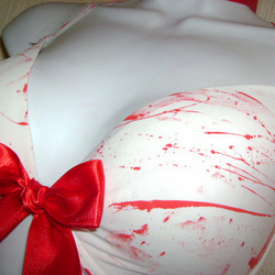 blood splatter BRA halloween ZOMBIE corpse bride top big red bow 36 - 38 inch bu