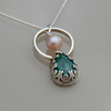 Sterling Silver Malachite and Freshwater Pearl Pendant