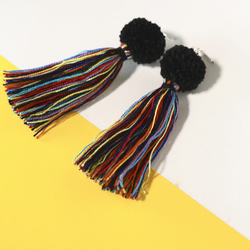 Rainbow tassel fringe earrings, Long dangle drop earrings