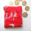 Red budgie earbud pouch or coin purse