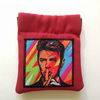 Small red coin purse or earbud pouch featuring musical legend