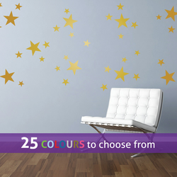 40 mixed size GOLD matt metallic STARS, shapes wall art stickers decals