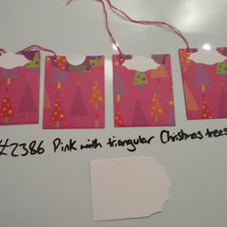 Set of 4 No.2386 Pink with Triangular Christmas Trees Unique Handmade Gift Tags