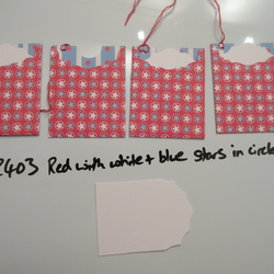 Set of 4 No.2403 Red with White & Blue Stars in Circles Unique Handmade Gift Tag