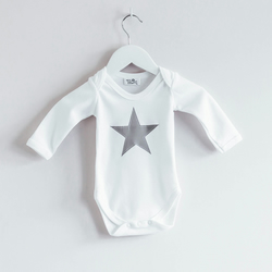 Long Sleeve Grey Star Babygrow