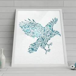Eagle: Art poster printed on canvas textured paper