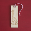 Personalised child's bookmark. custom made giraffe engraved bookmark L273