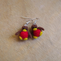 Needle Felted Robin Earrings