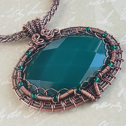 Wire Wrapped Pendant, Green Onyx Pendant, Wire Wrapped Jewellery, Viking Knit.
