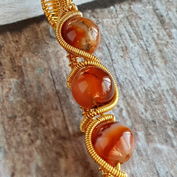 Wire Wrapped Agate Pendant, Brown Agate Pendant, Gold And Brown Pendant.