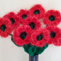 NEW CROCHET LOVELY RED POPPY FLOWER BROOCH+LEAF
