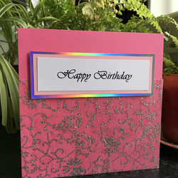 Pink and Silver Birthday Card