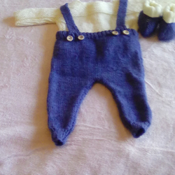 7fba353b68b3 Hand knitted baby boy dungaree set to fit 3 months - Folksy