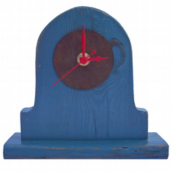Mantel Clock - Small Blue & Red Painted Mantel Clock