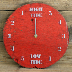 Tide Clock - Red and White Driftwood sailors gift