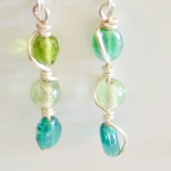 Tropical seas coloured glass bead silver plated earrings, drop earrings