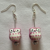 Pink owl earrings