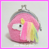 Pretty pink rainbow unicorn crochet coin purse