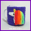 Purple sparkly unicorn and rainbows mug hug, mug cosy