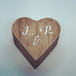 Personalised wooden ring box names and dates, wedding date box, ring bearer