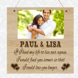 Personalised Wooden Photo Plaque Valentines Love Couple Anniversary Birthday